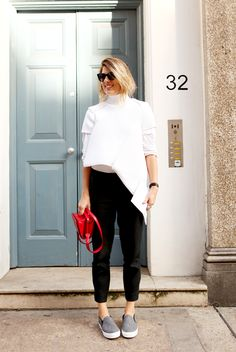 We The People Street Style: London Cool in white turtleneck and Celine slip ons White Turtleneck, Spring Wear, Street Outfit, Love Fashion, French Fashion, Sophisticated Style, We The People, Hijab Fashion, Sneakers Fashion