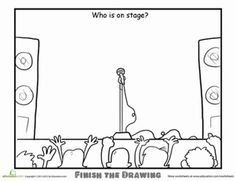Second Grade People Worksheets: Finish the Drawing: Who is On Stage?