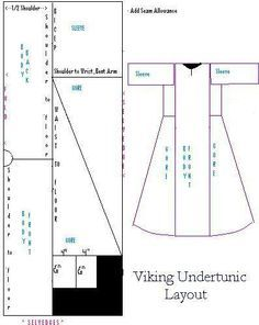 Maid-en Anachronism: Viking Underdress.   From my view point, this pattern can save on fabric, but I would juxtapose the front and back side pieces if one side os cut on the bias to add fullness. This way you won't have and stretch to your seams. May have to try this one for fit, esp through the torso. Not sure what era this is from. But definately,  rectangle construction method.
