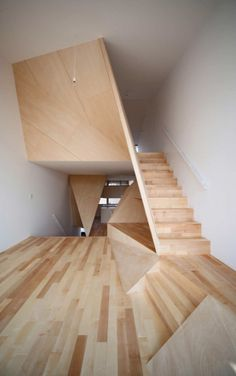 Interior Design Magazine: The polyhedral partition walls added by Alphaville Architects to this Kyoto townhouse blur the boundary between architecture and furniture. : courtesy of the architect. Architecture Design, Amazing Architecture, Installation Architecture, Angular Architecture, Folding Architecture, Japan Architecture, Stairs Architecture, Architecture Interiors, Interior Stairs