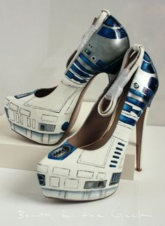 Hand Painted R2D2 Inspired Heels by Beauty For The Geek.