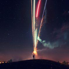 Los fuegos artificiales de exposición prolongados