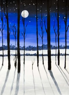 I invite you to visit it and watch this and the other interesting art projects Winter Trees, Winter Art, Shadow Drawing, Winter Painting, Guache, Art Auction, Watercolor Paintings, Art Drawings, Cool Art