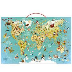 Beautiful Educatif Carte du monde fantastique magn tique pour enfant