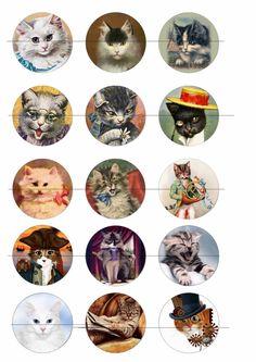 50 mm Planche Chat pour miroir de poche ou autre : Images digitales pour bijoux par luxe