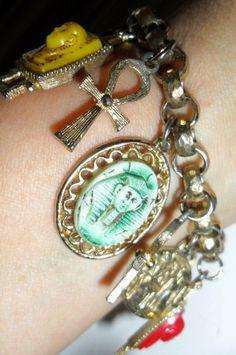 "vtg Charm Bracelet EGYPTIAN Ankhs Coins Scarabs Pharaohs 7"" Long PRIORITY MAIL #Unbranded #CharmBraceletEgyptianScarabAnkhPharaoh"