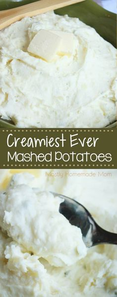 Creamy Mashed Potatoes - mashed potatoes with cream cheese, sour cream, milk, butter, and garlic - the best mashed potatoes recipe!