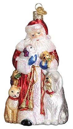 Old World Christmas Santa's Furry Friends Pets Glass Ornament