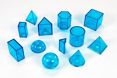 Water and math mix well! This Kit II manipulative is a favorite for many kids.   Fun & educational; it's a win-win! See-thru blue plastic shapes with removable filler caps for volume and mass measurement; includes sphere, hemisphere, cone, cylinder, two pyramids (one triangular base, one square base), triangular prism, hexagonal prism, cube, and three cuboids.