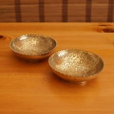 Two solid brass small bowls / dishes / plates || floral engravings are hand made || Arts India reg. No. 44