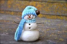 Needle Felted wool Snowman  holiday decor  by BearCreekDesign, $50.00