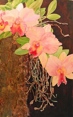 Mixed media painting of cattleya orchids - collage, acrylic, watercolor, and hand-dyed ribbons and fibers