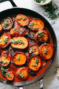 Roasted Sweet Potatoes in Tomato, Lime, and Cardamom Sauce | Joanne Eats Well With Others Dairy Free Recipes, Easy Healthy Recipes, Vegan Recipes, Easy Meals, Dump Recipes, Meatless Recipes, Vegetarian Meals, Delicious Recipes, Healthy Food