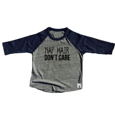 Toddler Baseball Tee Triblend Nap Hair Don't Care by BirchBearCo on Etsy