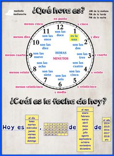 learning spanish Spanish Time - presentation and worksheet Spanish Sentences, Spanish Worksheets, Spanish Teaching Resources, Spanish Grammar, Spanish Vocabulary, Spanish Activities, Spanish Language Learning, Spanish Alphabet, Clock Worksheets