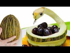 Arte com fruta e Legumes, vídeos e tutoriais sobre esculturas em fruta, decoração de pratos de fruta e técnicas de como cortar fruta.