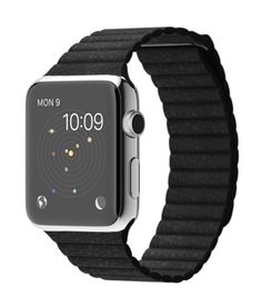 Apple Watch - Stainless Steel Case with Black Leather Loop [BAND DISCONTINUED 9/15]