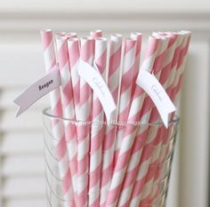 25 Pink Striped Paper Straws Retro Vintage Style Carnival Circus Wedding Birthday Bridal Baby Shower W/  Printable Flags I Created, $3.00
