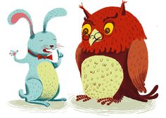 rabbit and owl by Gwen Keraval