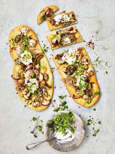 If you love mushrooms, top you warm pizza base with pan fried garlic, assorted mushrooms, (or your favourite) some fresh thyme until mushrooms and caramelized and serve with a dollop of fresh soft goats cheese and a drizzle of extra virgin olive oil.  Yum  Created by Ellie Vernon Styled by Stephanie Souvlis Photography www.andremartinphoto.com