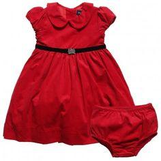 Ralph Lauren Baby Girls Red Cotton Dress With Knickers at Childrensalon.com