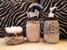 Mason Jar Gift Set by Basix on Etsy _ Decorative hand painted and distressed animal print jars. Super cute to way to organize your bathroom, kitchen, or desk! Jars are painted on the outside, so they're safe for fresh cut flowers. Order includes set of 3 tan & brown mason jars, as pictured. (1 half pint, 2 pints, painted bands and lids- including 1 dispenser lid).