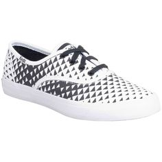 Keds Women's Triumph Triangle Sneaker ($55) ❤ liked on Polyvore featuring shoes, sneakers, laced shoes, lacing sneakers, tenny shoes, tennis shoes and black and white skate shoes