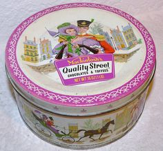 Mackintosh Quality Street chocolates and toffees, circa 1960's tin. Grandma M brought a tin of QS for us every time she visited!