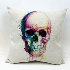 Decorative Pillow Cover Linen Cool Perfect Colorful Skull printed Pillow Case  #New