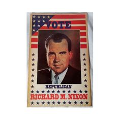 "A nice reprint of a Richard M. Nixon campaign poster. It reads ""Vote Republican"" and ""Richard M. Nixon"" with a photo of Nixon. It measures 22 inches tall by 14 inches across. It is a heavy cardboard paper stock poster with an aged or antique appearance."