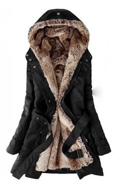 Warm and Cozy! Love the Hood! Love the Lining! Soft + Cozy Long Sleeves Hooded Thick Faux Fur Lined Belted Waist Pockets Casual Women's Trench Coat