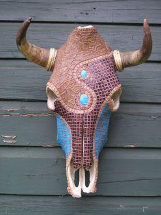Cow Skull Wall Decor Mosaic ArtPRICE REDUCED by minilonghorns