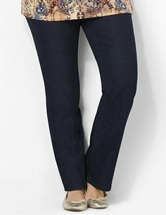 Meet your refined, go-anywhere jean. Classic, straight leg jean features easy, pull-on styling and a flat front for a smooth look. Stretch, cotton fabric and back elastic waistband guarantee a comfortable fit. Complete with faux front pockets and a faux zipper opening. Deep patch pockets on back easily hold your small items. Catherines pants are specifically designed with the plus size woman in mind. catherines.com