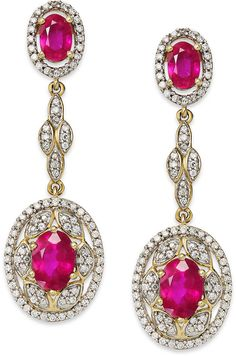 Ruby (2-9/10 ct. tw.) and #Diamond (1/2 ct. tw.) Linear Earrings in 14k Gold