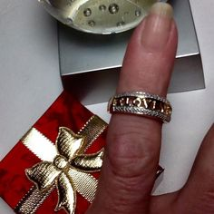 """""""I LOVE YOU"""" MOTHER'S DAY RING WITH DIAMONDS  """"I LOVE YOU""""  RING with genuine Diamond accents.  Gold plated Sterling Silver.  Perfect way to say those three little words!  A great Birthday or Mother's Day gift.  NWOT  Comes nestled in a fancy ring box. Jewelry Club Jewelry Rings"""