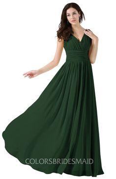 a7b233ba8c8 ColsBM Alana Elegant V-neck Sleeveless Zip up Floor Length Ruching  Bridesmaid Dresses