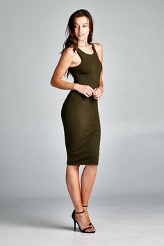 D4497 Fitted, sleeveless, round neck body con dress. Racerback. This body con dress is made with heavyweight cotton span dress that has great stretch and is soft. Fabric : 95% Cotton, 5% Spandex Made In : U.S.A Stock Availability : In Stock