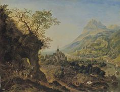 Jan Griffier I (Amsterdam 1645/52-1718 London) An extensive Rhenish landscape with peasants harvesting on the mountain sides and in the valley, and various sailing vessels on the river below
