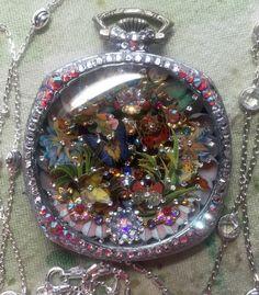 Art Deco Pocket Watch Micro Mosaic - Butterflies Tracey Davis
