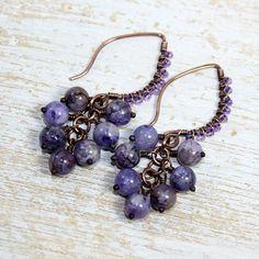 Purple Cluster Earrings Riverstone Antique Copper Wire by JKFoster