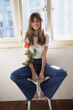 Model Anthea Page in tribute to Jane Birkin, loving the wide jeans with a plain t-shirt look