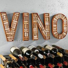4-piece mahogany wine cork board frame with a typographic design. Might be fun to try to make this...any ideas?