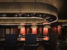 overhead design at U:PONTE VECCHIO Commercial Design, Commercial Interiors, Restaurant Design, Restaurant Bar, Interior Architecture, Interior Design, Hot Pot, Cebu, Japanese Style
