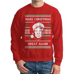 Amazon.com: Men's Trump Make Christmas Great Again Ugly Christmas Crewneck Sweatshirt: Clothing