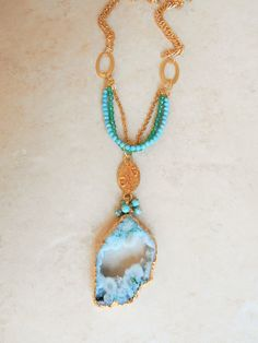Beautiful aquamarine druzy and gold metal by HeavenandEarthGems
