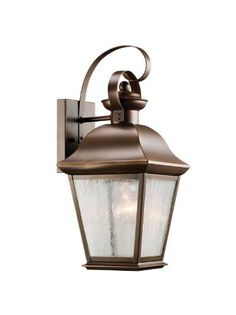 Kichler Lighting 9708OZ Mount Vernon 1-Light Outdoor Wall Mount Lantern, Olde Bronze with Etched Seedy Glass by Kichler. $198.00. From the Manufacturer                The Kichler Lighting 9708OZ Mount Vernon 1-Light Outdoor Wall Mount Lantern with its simple yet bold shape, adds a touch of rustic flavor to the American home. Whether you are looking for that perfect outdoor wall lantern for your outdoor living space, deck, or patio; this fixtures olde bronze finish o...