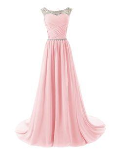 Dressystar Herzform Chiffon Lange Brautjungfernkleid Perlen Ballkleid Blush  in Größe 46  Amazon.de  Bekleidung c543bcf488