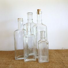 Old Medicine Bottle collection of five at RaggedyRee on Etsy, Old Medicine Bottles, Amazing Flowers, Cottage Chic, Flower Vases, Clear Glass, Farmhouse Decor, Primitive, Collections, Antiques