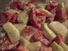 Creamy Cucumber Salad-- the recipe calls for mayo but I'm going to try it with plain Greek yogurt instead. Creamy Cucumber Salad, Creamy Cucumbers, Vegetable Salad, Vegetable Side Dishes, Vegetable Prep, Good Food, Yummy Food, Cooking Recipes, Healthy Recipes