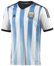 Argentina 2014 FIFA World Cup Home Soccer Jersey,has a classic V neck with vertical broad sky blue stripes and the Argentina crest, this soccer jersey is available from Soccer Box in all Adult sizes visit http://www.soccerbox.com/soccer-jerseys-argentina-home-fifa-world-cup-2014